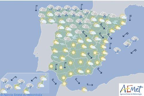 Hoy en España, viento y precipitaciones en Baleares con nieve en zonas de montaña
