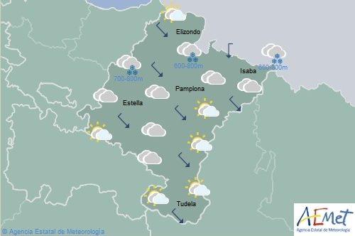 En Navarra temperaturas en descenso, nieve en Pirineos, sierras de Aralar y Urbasa