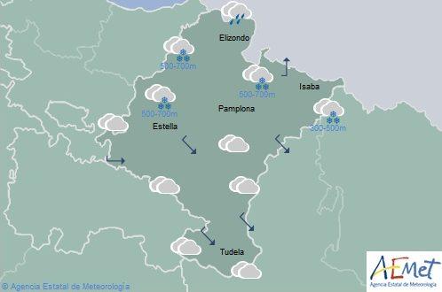 En Navarra temperaturas en ligero descenso y nieve bajando a 300-500 metros