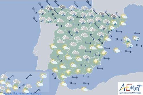 Precipitaciones, nieve en la mitad norte y viento fuerte en casi todo España