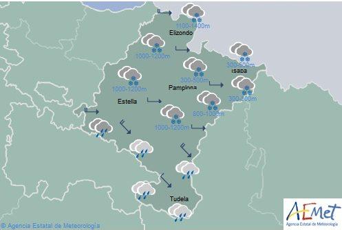 Cielo nuboso en Navarra con precipitaciones generalizadas, de nieve entre 400-1000 metros