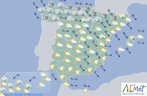 Hoy en España, viento fuerte en el Cantábrico, Ebro Ampurdán y Baleares con nieve en Pirineos