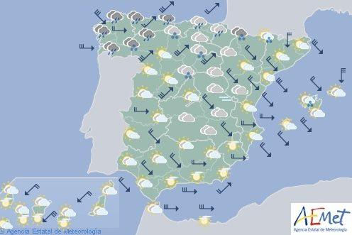 Hoy en España viento fuerte en Cantábrico, Ebro, Ampurdán y Baleares