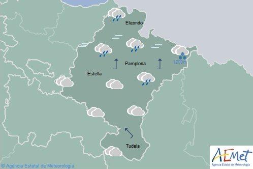 En Navarra precipitaciones generalizadas, rachas fuertes de viento en la mitad norte