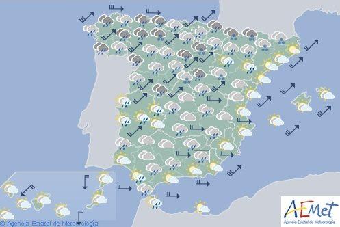 Hoy en España, viento fuerte en Galicia, cordillera Cantábrica e Ibérica y sureste