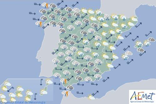 Hoy en España, precipitaciones persistentes en Andalucía y Estrecho, nieve en zonas de montaña