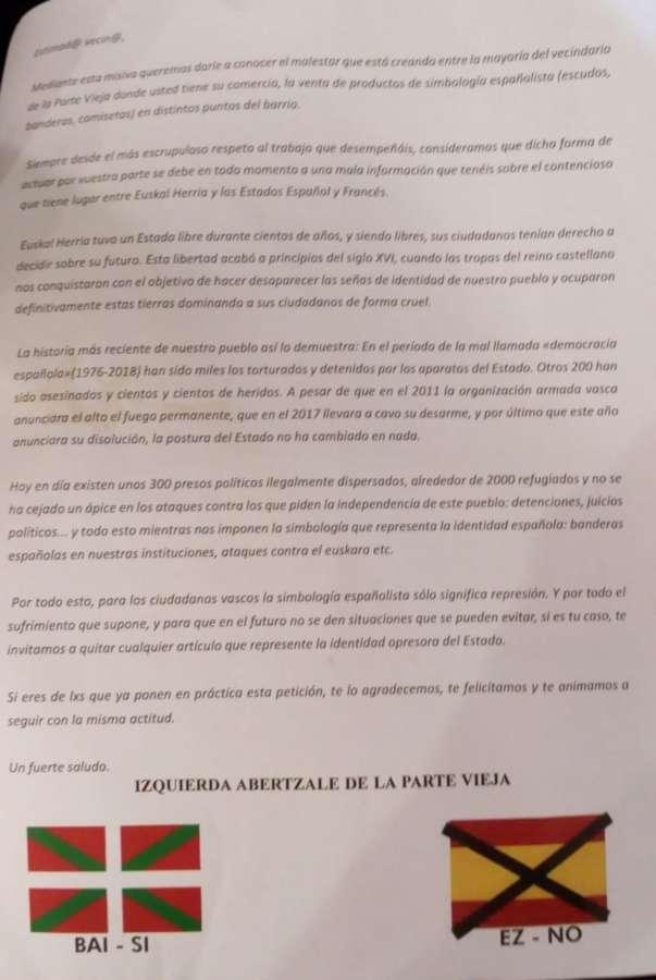 """PSN denuncia """"presiones"""" de izquierda abertzale al comercio del Casco Viejo"""