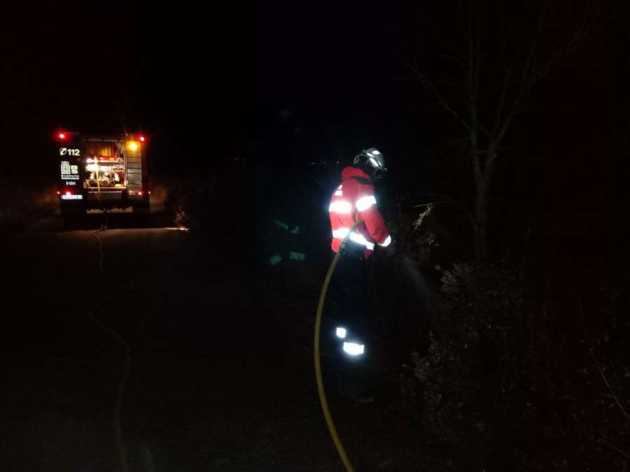Un incendio forestal en Bargota afecta a una zona de pino y matorral