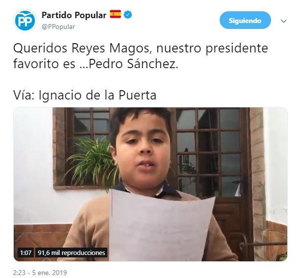 El Gobierno llevará a la Fiscalía el tuit del PP con vídeo que desea la muerte de Sánchez