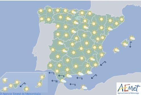 Sol en todo España y levante en el Estrecho