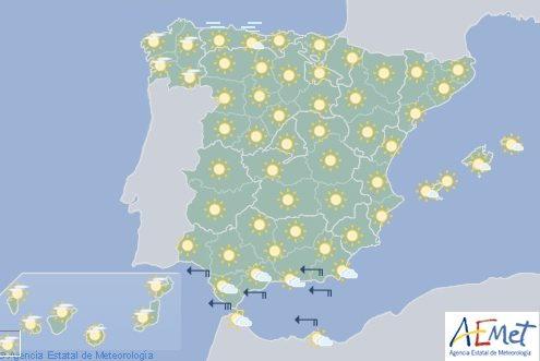 Hoy en España, cielo poco nuboso o despejado con levante en el Estrecho
