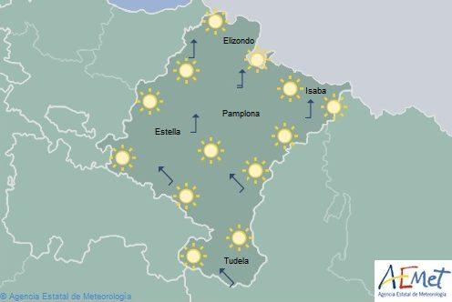 Cielo despejado en Navarra, viento ocasionalmente fuerte en el Pirineo