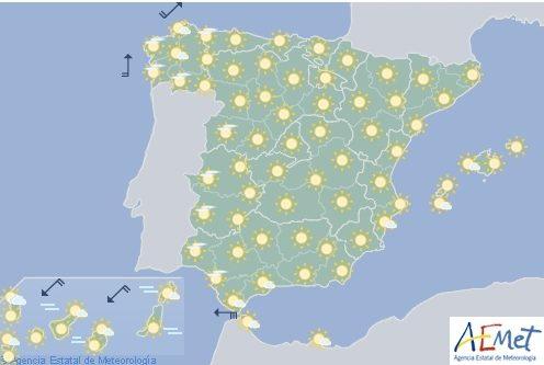 Hoy en España, tiempo estable, excepto en Galicia y en el litoral atlántico