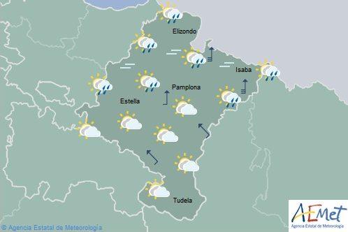 Cielo nuboso en Navarra con precipitaciones débiles en el norte