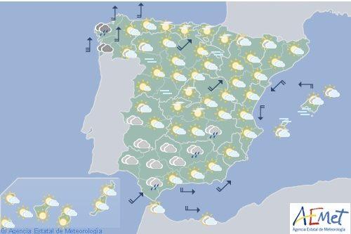 Hoy en España vientos fuertes en Galicia y área cantábrica
