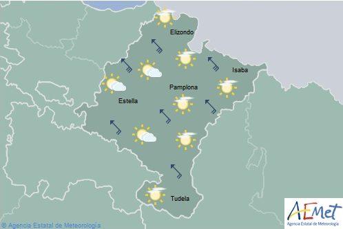 En Navarra rachas fuertes de viento sur y temperaturas sin cambios