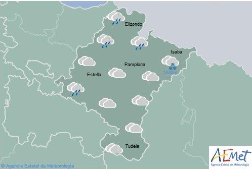 En Navarra precipitaciones débiles en norte y noroeste