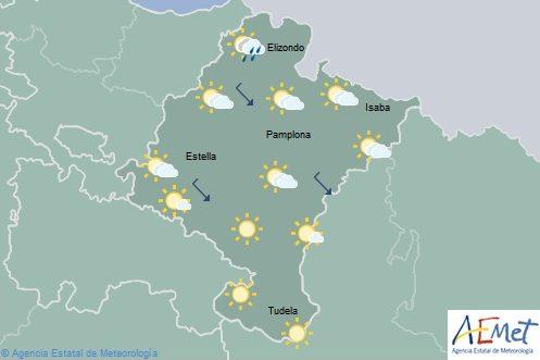 Poco nuboso o despejado en Navarra con temperaturas máximas en ligero descenso