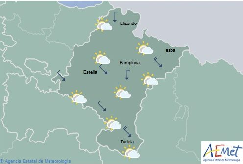 En Navarra temperaturas en descenso, predominio de cielo nuboso