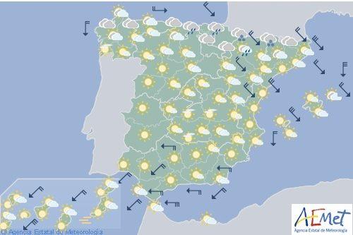 Hoy en España viento fuerte en cantábricooriental, Pirineos, medio y bajo Ebro y en Baleares