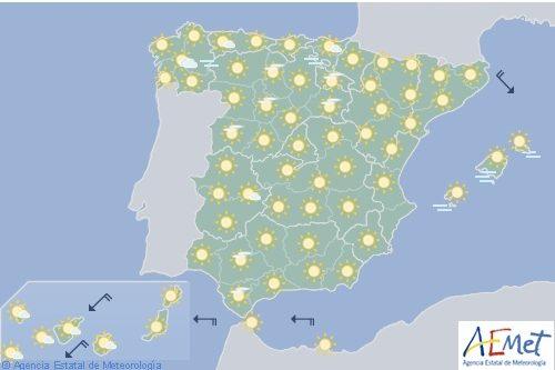 Hoy en España temperaturas en ascenso, cielo poco nuboso