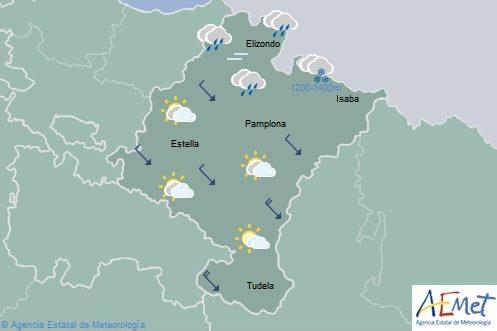 Descenso notable de temperaturas máximas en Navarra con intervalos nubosos