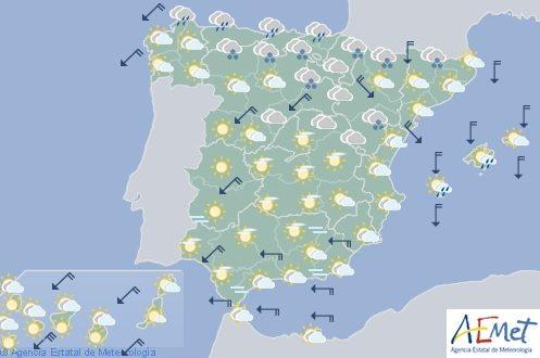 Hoy en España nieve en los Pirineos, viento fuerte en Ampurdán, Baleares y Canarias