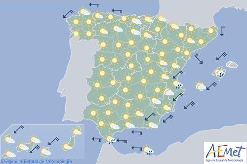 Hoy en España levante fuerte en el Estrecho, notable aumento de temperaturas diurnas en el norte