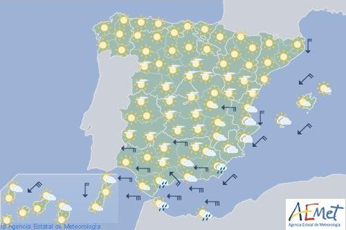 Hoy en España levante fuerte en Cádiz y litoral de Alborán