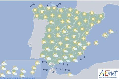 Hoy en España levante fuerte en el Estrecho y con intervalos de fuerte en Alborán