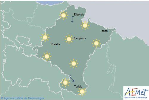 Poco nuboso o despejado en Navarra, temperaturas con pocos cambios
