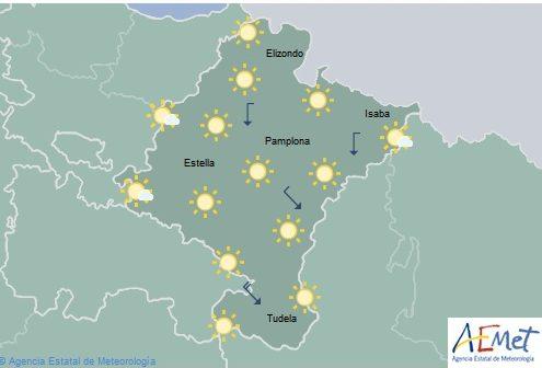 En Navarra poco nuboso o despejado y temperaturas con pocos cambios