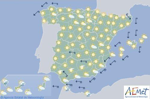 Hoy en España, chubascos en Canarias y despejado en la Península y Baleares