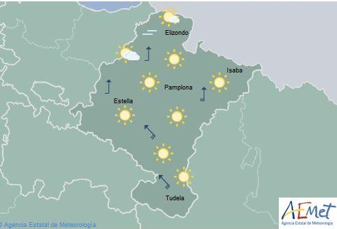 Predominio de cielo despejado en Navarra con temperaturas máximas en ascenso