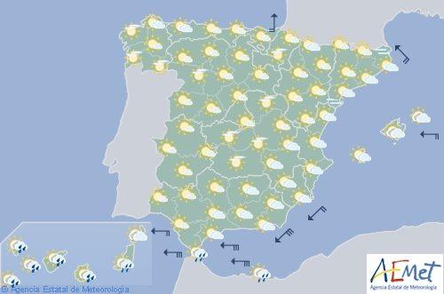 Hoy en España chubascos en Canarias y viento fuerte en el Estrecho