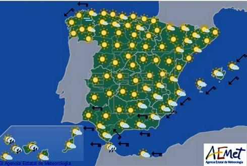 Hoy en España viento fuerte en el Estrecho y lluvias localmente fuertes en Canarias