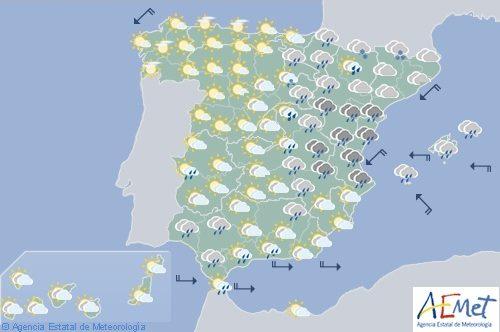 Hoy en España las lluvias persisten mañana en la mitad este y Baleares