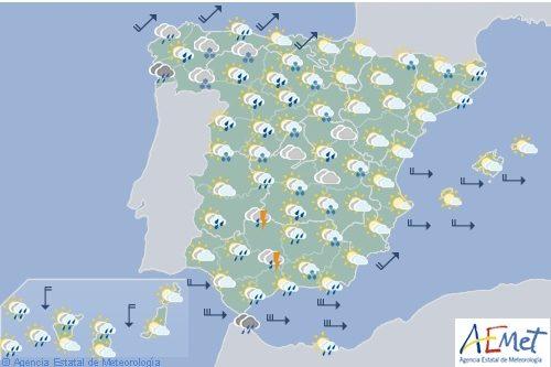 Hoy en España, nevadas en zonas altas, precipitaciones fuertes en Andalucía y Estrecho