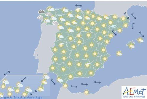 Hoy en España temperaturas máximas en ascenso excepto en Galicia