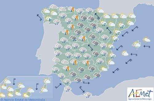 Hoy en España, precipitaciones fuertes y persistentes en el centro y Valencia