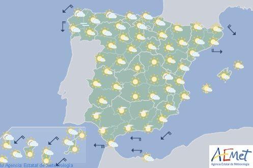Hoy en España intervalos de viento fuerte en Galicia y Canarias