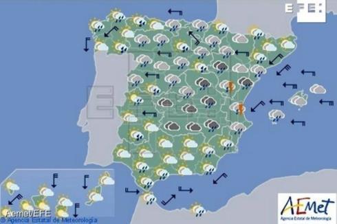 Hoy persisten las lluvias en casi toda España