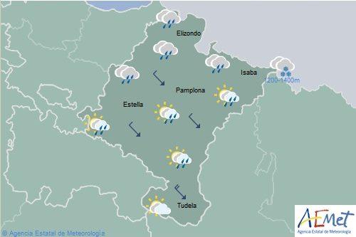 En Navarra predominarán los intervalos nubosos con precipitaciones en el norte