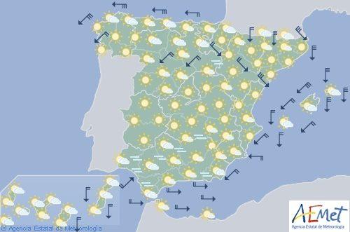 Hoy en España, viento fuerte en Galicia, Asturias, desembocadura del Ebro, Gerona y Baleares