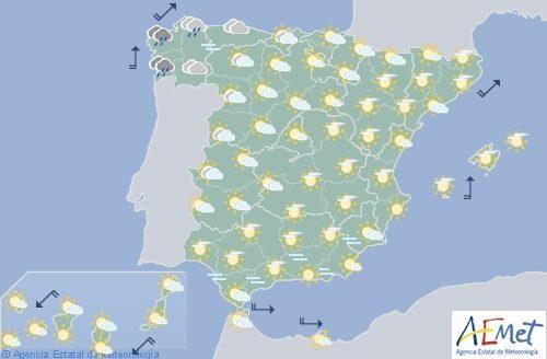 Hoy en España, lluvias y viento fuertes en el oeste de Galicia