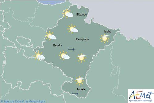 Intervalos de nubes altas con temperaturas en descenso en casi todo Navarra