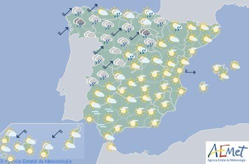 Hoy en España cielos nubosos conprecipitaciones en el Cantábrico y norte de Castilla