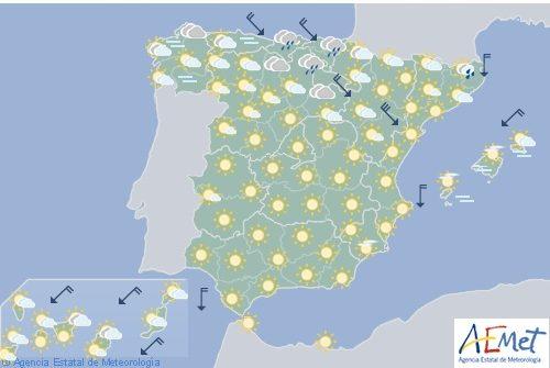 Hoy en España, nuboso al principio en el Cantábrico, alto Ebro, noroeste de Navarra y Pirineos