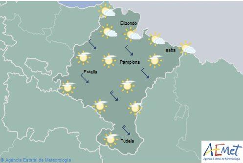 Poco nuboso en Navarra, temperaturas máximas aumentan en la Vertiente Cantábrica
