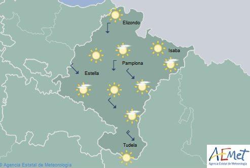 Poco nuboso o despejado en Navarra con temperaturas máximas en ascenso